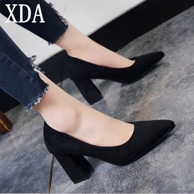 XDA 2018 Summer Women Shoes High Heels Thick with Pumps Women Sexy Party Shoes simple Pointed Toe high heel fashion shoes F216 allbitefo full genuine pointed toe high heels women pumps fashion sexy buckle thick heel office shoes spring high heel shoes
