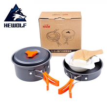 HEWOLF 1-2Person Camping Tableware Outdoor Cookware Picnic Set Portable Travel Tableware Cooking Hiking Picnic Bowl Pot Pan Kits yingtouman camping cookware outdoor cookware set camping tableware cooking set travel tableware pot pan set outdoor tableware
