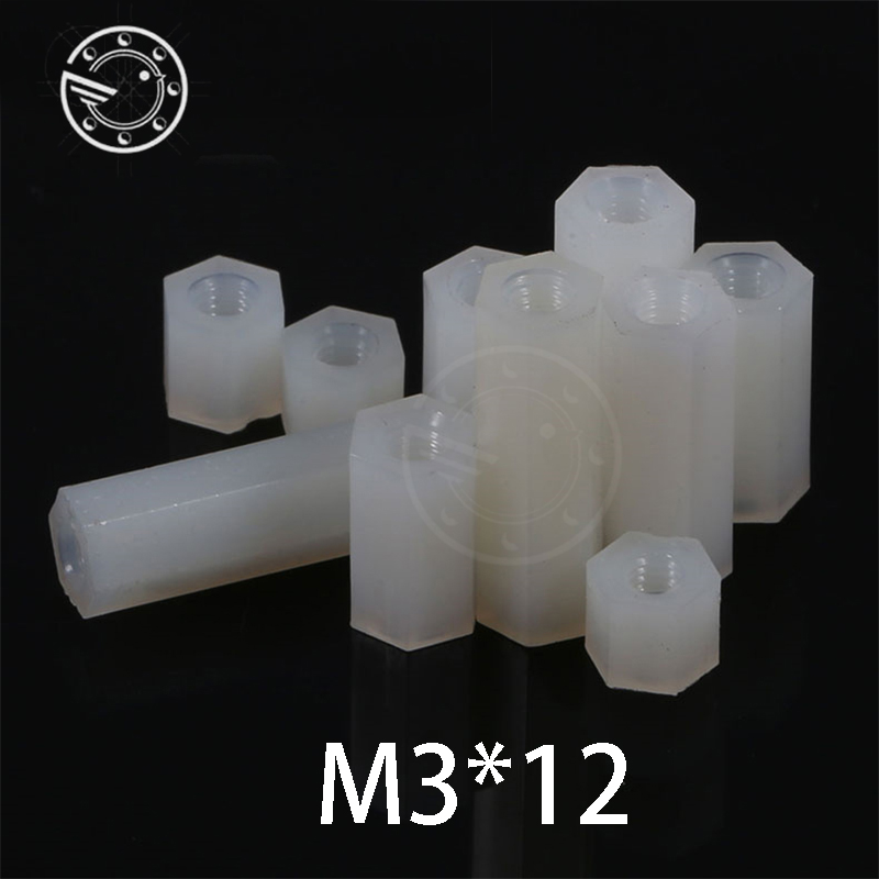 Free shipping m3*12 mm Hex Nylon Standoff Spacer Column Flat Head Double Pass Nylon Plastic Spacing Screws NL04 m3x12 mm