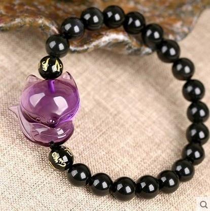 100% améthyste naturelle + obsidienne Quartz cristal renard bracelet de perles rondes de guérison