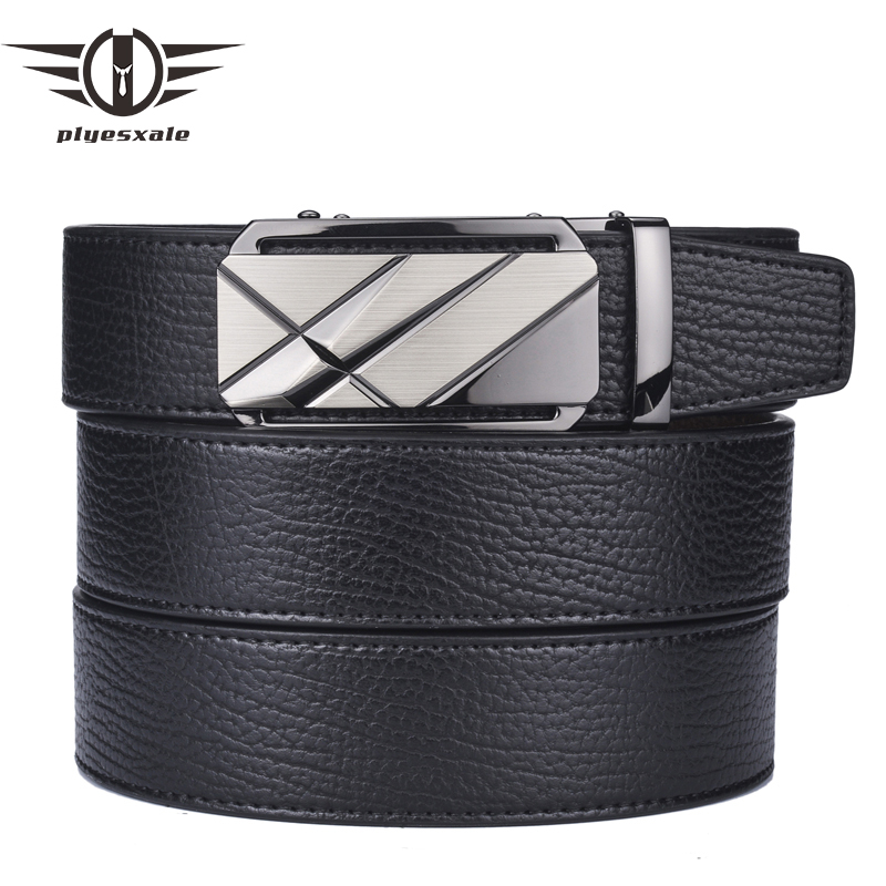 Plyesxale Belt For Men 2018 Men's Genuine Leather Belts Luxury Brand Black Business Formal Belt High Quality Male Cinto B7