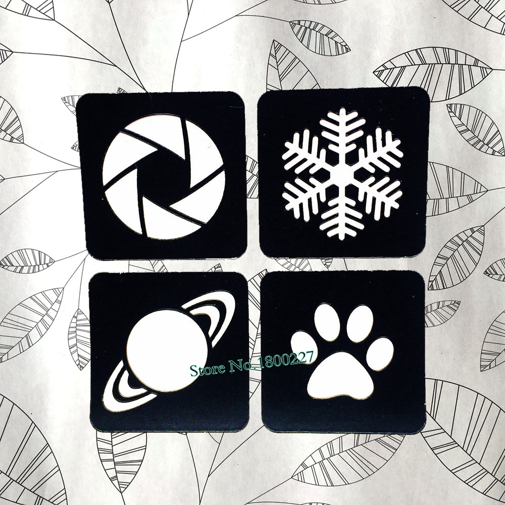 Christmas Snowflake Pattern Hollow Tattoo Stencils Girl Animal Paws Planets Tattoo Template Sticker Paste Kids Airbrush Paint image