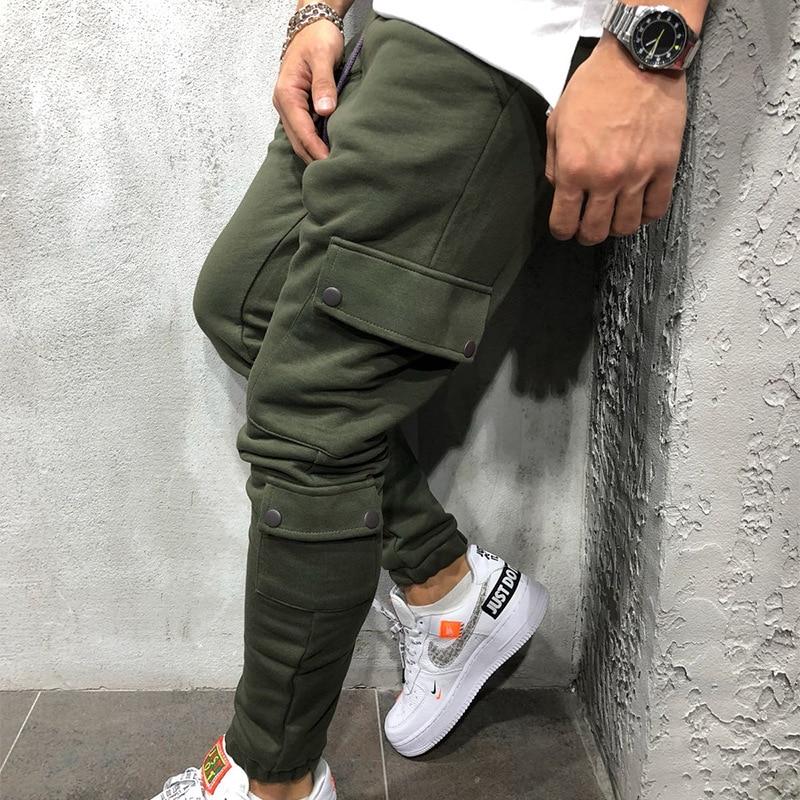 Mens Multi-pocket Tooling Sweatpants Pants Men Joggers Casual Cotton Pants Hip Hop Street Autumn Cotton Men's Trousers