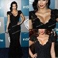 Sexy sirena piso-longitud con cuentas de encaje kim kardashian 2012 golden globe awards after party negro Vestidos vestido de La Celebridad