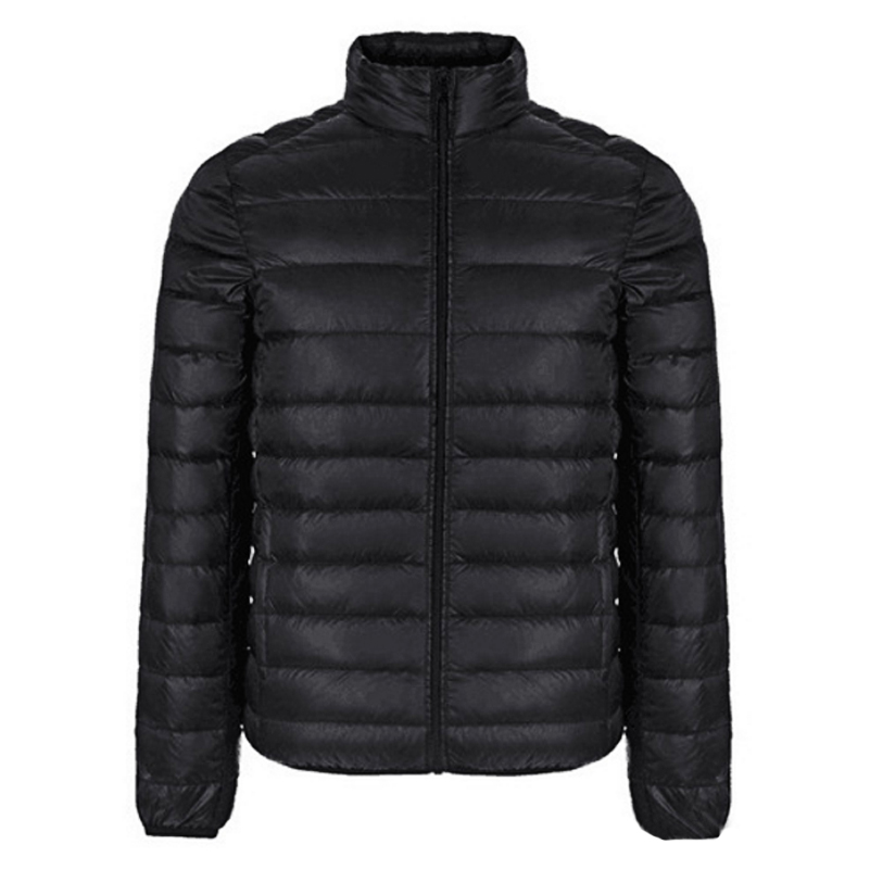 Image 4 - Autumn Winter Jacket Men 2016 New Couples Thin Coats 90% Duck Down Ultra light Slim Stand Collar Cotton Padded Solid Parkas X353-in Down Jackets from Men's Clothing