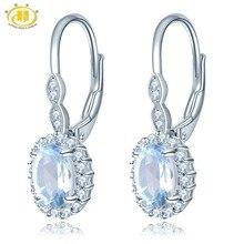 Hutang Небесно-Голубой топаз Висячие серьги Твердые 925 пробы серебро натуральный драгоценный камень прекрасный кристалл камень ювелирные изделия для женщин подарок