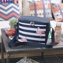 SANNE New Fresh Insulation Cold Bales Thermal Oxford Lunch Bag Waterproof Convenient Leisure Flamingo Tote