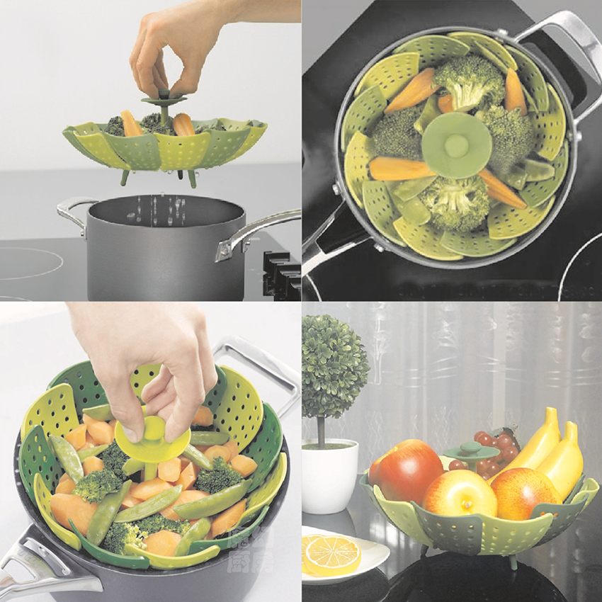 Creative PP Foldable Lotus Steamers Fruit Vegetable Storage Basket Kitchen Steaming Gadgets Perforated Strainer Drop Water Bowl