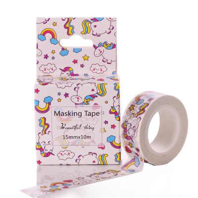 Kawaii licorne Washi bande bricolage Fita Decorativa 15mm * 10 m Adesiva Decorada rubans de masquage mignon Washitape ruban adhésif décoratif