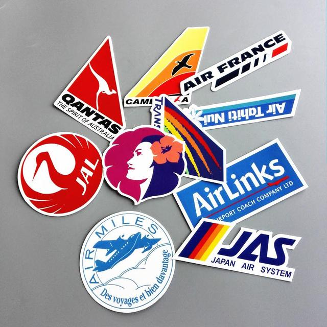 10pcs lot airline logo pvc waterproof decal sticker fashion trunk luggage carrier laptop brand handbag
