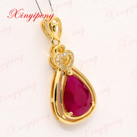 Xin yi peng 18k yellow gold inlaid natural ruby pendant pendant female 7.8 * 10 design experts with diamonds