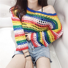ins Rainbow Stripe Knitting Sweater Female 2019 New Long-sleeved Solid Color Women Openwork Casual Thin pullover