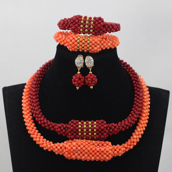 Luxurious Wine Red/Orange Coral Beads Jewelry Sets 2 Rows Design Nigerian Wedding African Bridal Jewelry Set Free Shipping CJ750Luxurious Wine Red/Orange Coral Beads Jewelry Sets 2 Rows Design Nigerian Wedding African Bridal Jewelry Set Free Shipping CJ750