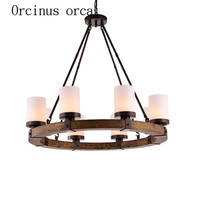 American country villa living room chandelier Candlestick round old wooden chandelier retro creative free shipping