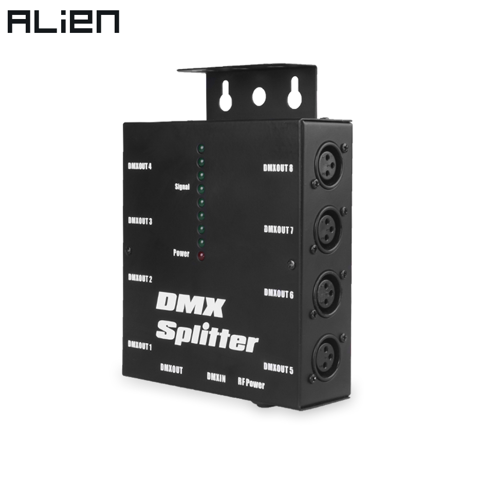 ALIEN 8 Way Channels Isolated 3Pin DMX 512 Optical Splitter Istribution Amplifier For DJ Disco Wedding DMX Stage Lighting Effect