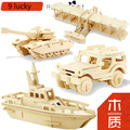 2017 New Children 3D Wood Puzzles Military Tank Vehicle Puzzles Wooden Toys for Learning and Environmental Assemble Toy Gift