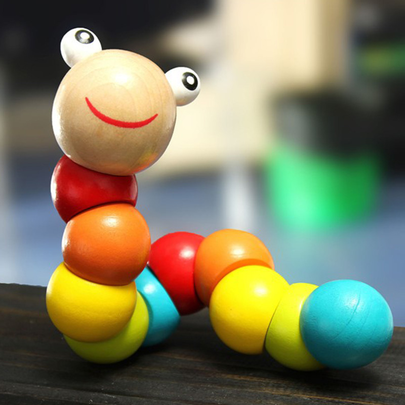Colorful Caterpillar Wooden Toys Baby Children Removable Flexible Training Science Educational Puzzle Twisting Worm Toy YH-17