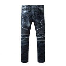 Men Jeans masculina Casual Denim distressed Men's Slim Jeans pants Brand Biker jeans skinny rock hole ripped jeans homme JW102