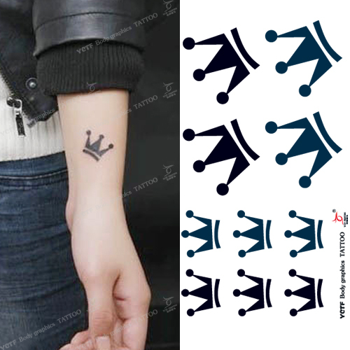 Temporary tattoo stickers body arm wrist green black crown fake art painting transfer makeup environmental designs waterproof