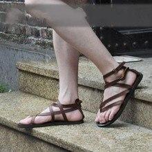 Коричневый, Черный Рим гладиаторы на плоской подошве из натуральной кожи для отдыха сандалии летние туфли Лидер продаж