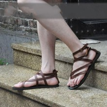 Brown Black Rome Gladiators Flat heel Real leather Leisure Sandals Summer Shoes