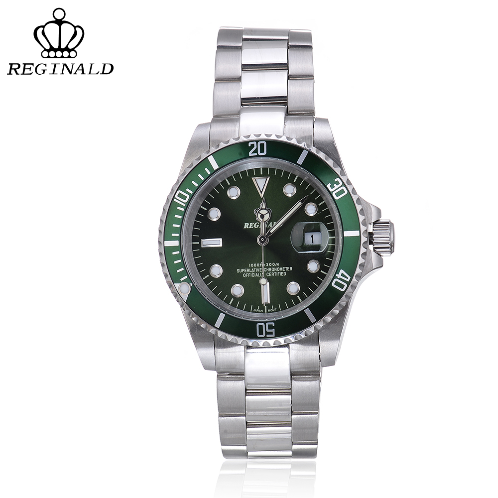REGINALD Top Brand Luxury Mens Watches Quartz Watch Men 316L Stainless Steel Horloges Mannen Relogio Masculino Reloj Hombre cadisen top new mens watches top brand luxury complete calendar 3atm sport watches for men clock stainless steel horloges mannen