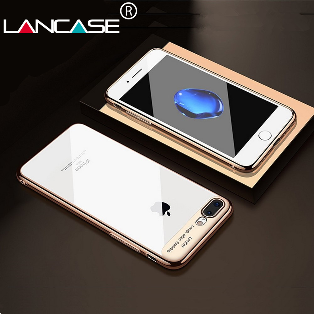LANCASE For For iPhone 6 Case Crystal Transparent PC Case For iPhone 6s Cover 6 6s Plus Plating Fashion Ultra Thin Hard Plastic
