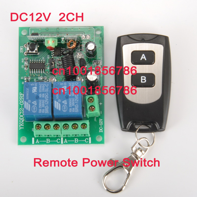 12V 2 CH RF Wireless Remote Control Switch system (transmitter and receiver)Radio Controller 315/433MZH Momentary/Toggle/Latched new dc12v 4 relay ch momentary toggle latched rf remote control switch system wireless receiver