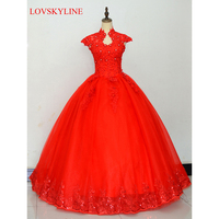 2017 Robe De Mariage Princess Bling Bling Luxury Crystals Red Ball Gown Wedding Dress Custom Made