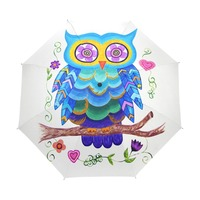 Unique Cute Owl Umbrella Full Automatic Animal Three Folding Rain Women Umbrella Creative Design Lady Gift Children Umbrellas