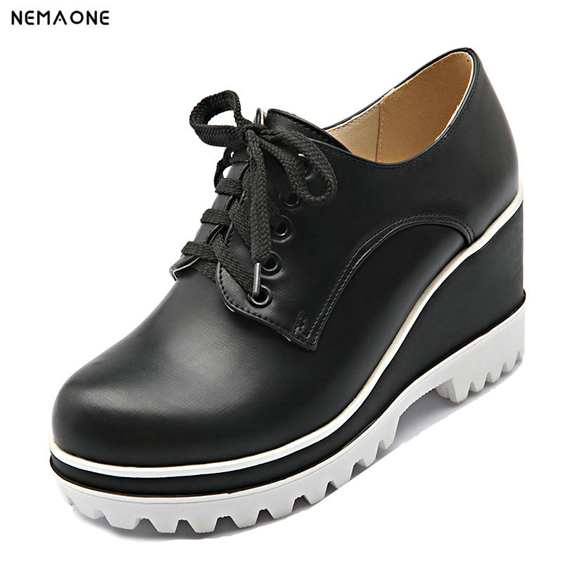 NEMAONE 2018 Loafer Shoes Women rouned Toe lace-up Thick Bottom Platform Wedge Shoes For Women Causal Shoes