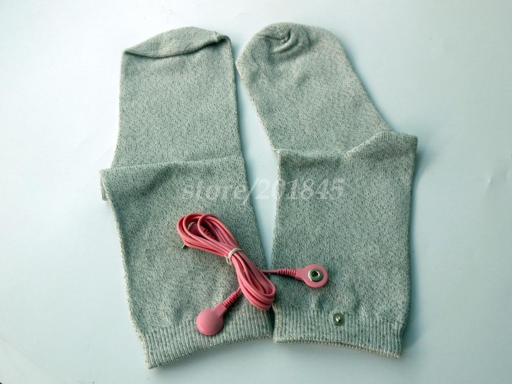 10Pairs/Pack Tens Machine Electric Socks Vibrating Conductive Socks Anti-satic/Anti-skid Use With Tens Digital Therapy Machine