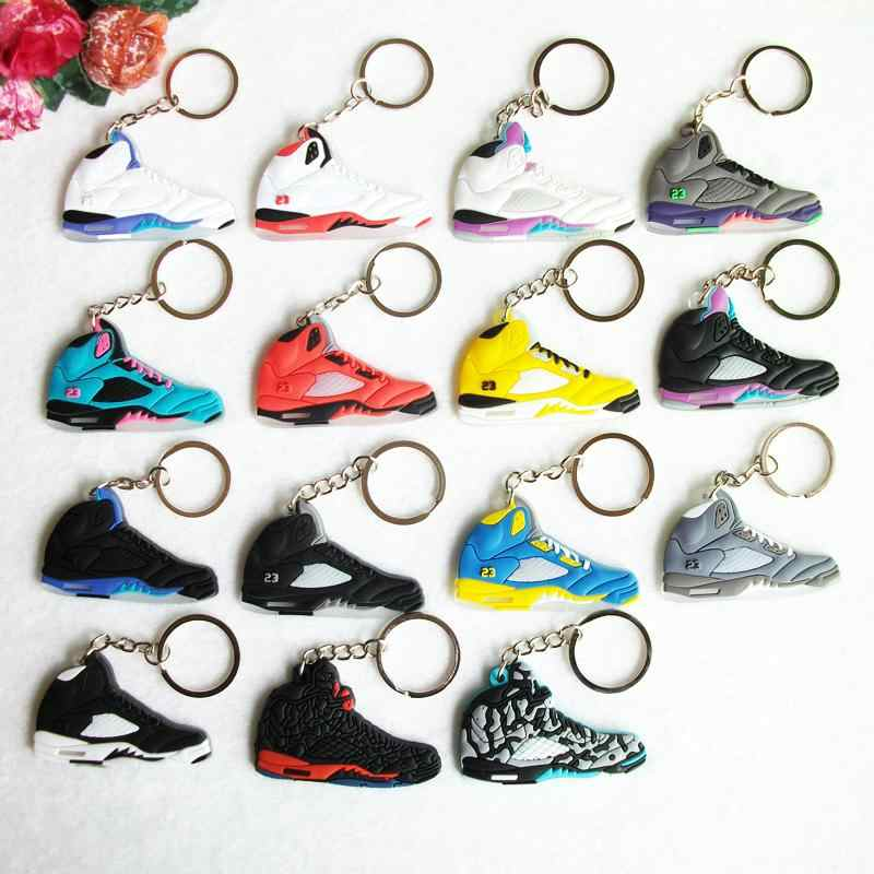Mini Silicone Jordan 5 Homens Mulher Kids Presentes Chave Anel Keychain Bolsa Charme Acessórios Pingente de Chave Titular Chave Sapatos Sneaker cadeia