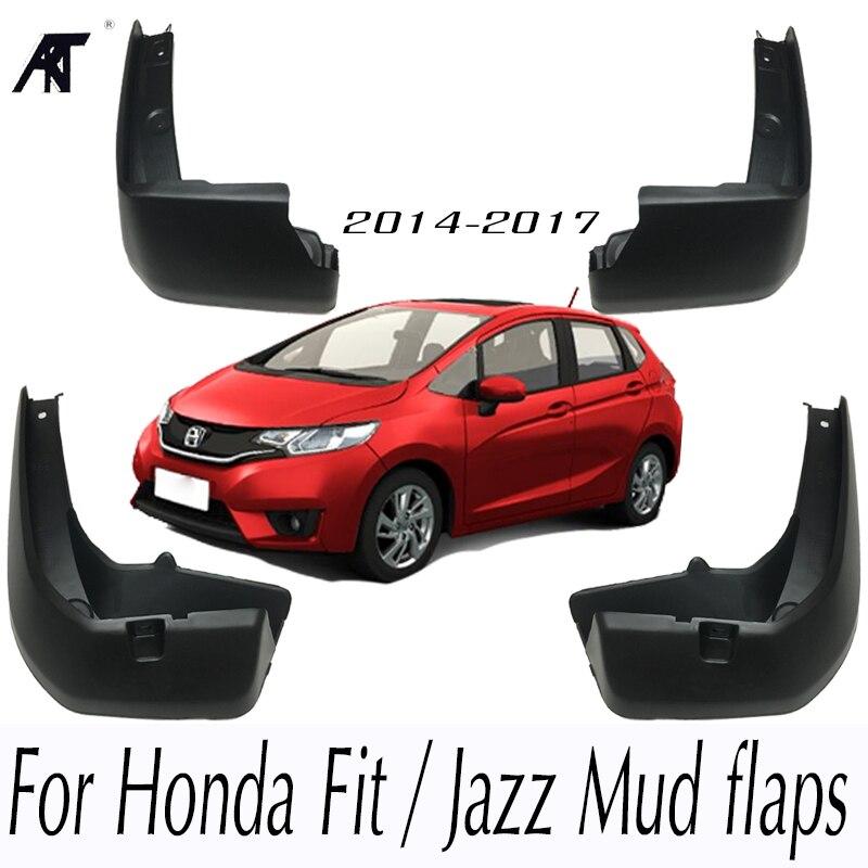 Set Molded Mud Flaps For Honda Fit / Jazz 2014-2017 Mudflaps Splash Guards Front Rear Mud Flap Mudguards Fender 2015 2016