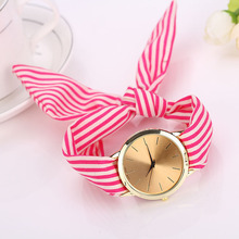 Hot Ladies Watch Fashion fashion watch Women Watch Stripe Floral Cloth Quartz Dial Bracelet Wrist Watch Mechanical Gifts  A27