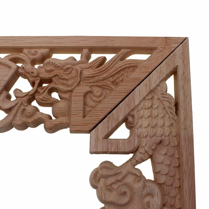 RUNBAZEF Dragon chinois bouddha décoration sculpté bois sculpté coin Applique porte armoire meubles Figurines bois Appliques - 5