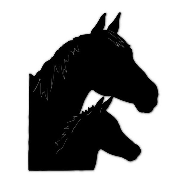 13*16CM HORSE FAMILY Animals Car Styling Car Stickers Motorcycle Decals  Black/Silver C2