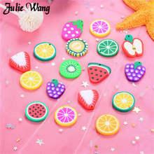 Julie Wang 20pcs Resin Fruit Charms Grape Kiwi Orange Strawberry shape Slime Findings DIY Pendant Bracelet Accessory