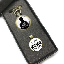 QiYuFang SHERLOCK HOLMES Pocket Watch With Black White Pendant Necklace Glass Do