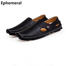 Men Vulcanize Shoes Sewing Microfiber Loafers Square Toe Cut-outs For Summer Big Size Slip-ons 47 37 46 Black White Soft Bottom