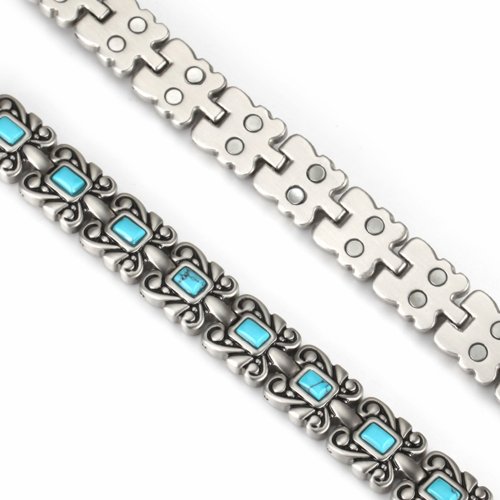 Wollet Jewelry Turkish Stone Stainless Steel Magnetic Bracelet Bangle for Women Ladies Vintage Silver Color Two Row Magnet in Chain Link Bracelets from Jewelry Accessories