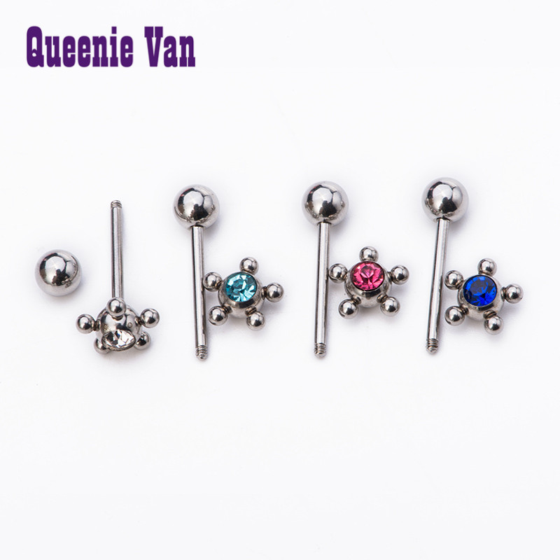 zirconia piercing jewelry Allergy pole simple models tongue nail tongue  ring rhinestone bone nail nipple barbell-in Body Jewelry from Jewelry    Accessories ... 829b33e7cdb8