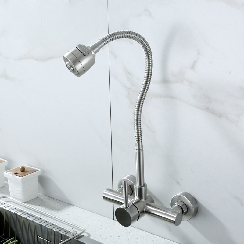 Stainless Steel Wall Mounted Kitchen Faucet Wall Kitchen Mixers Kitchen Sink Tap 360 Degree Swivel Flexible Hose Double Holes 2