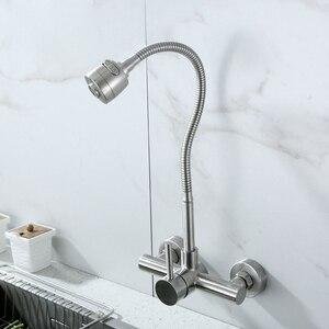 Image 2 - Rvs Wandmontage Keukenkraan Muur Keuken Mixers Kitchen Sink Kraan 360 Graden Draaibare Flexibele Slang Dubbele Gaten