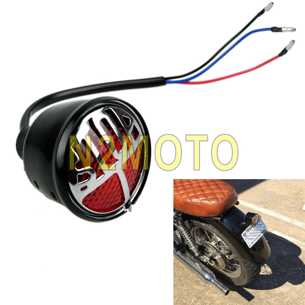 Home Zorbyz Black Vintage Stop License Plate Lamp Tail Brake Light For Harley Bobber Chopper Custom