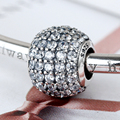 925 Sterling Silver Jewelry Charms for Bracelets Pave Lights Clear Zircon as Gift  for Lovers Women Bijoux Retro Valentine's Day