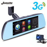 Jansite 7 Touch IPS 3G Car Dvr Android Mirror GPS FHD 1080P Dual Lens DVRs Video