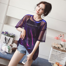 Fashion Hollow Out T-Shirt Women Sexy Transparent Summer Tops Ladies Short Sleeve Loose Two T-Shirts Women Tee Shirt simple women s hollow out long sleeves t shirt