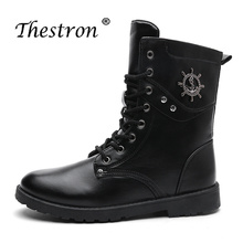 New Trend Military Tactical Boots Mens Work Vintage Fashion Men Winter Shoe Canvas Solid Color Snow Boot Casual Pu Leather