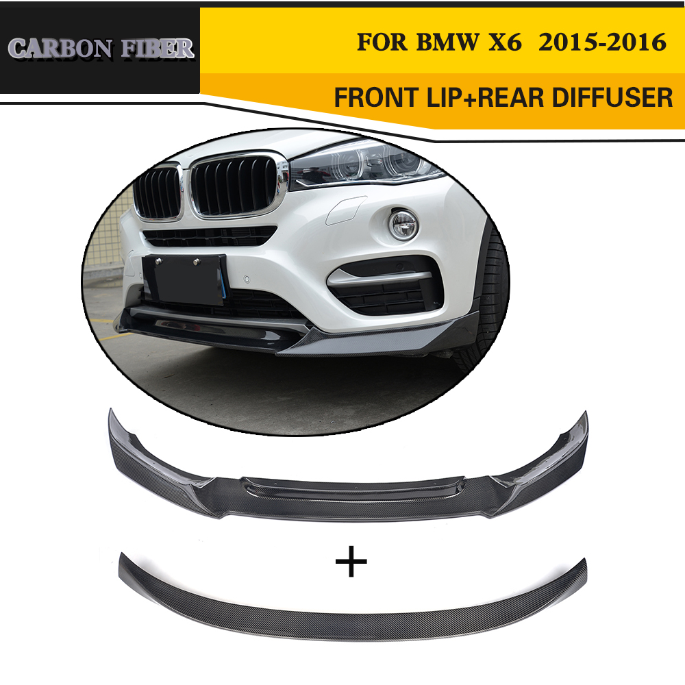 Углеродного волокна Гонки спереди губ Чин задний спойлер багажника крыло для BMW X6 утилита 2015 2016
